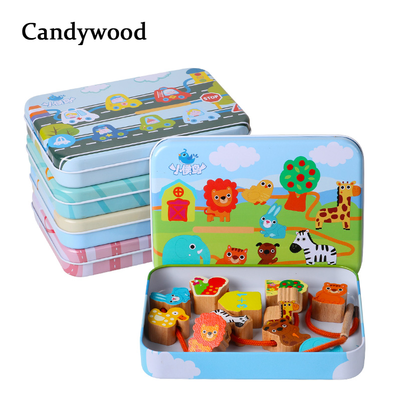 Beech Wood Blocks Cartoon Animals Fruit Block Wooden Toys Stringing Threading Beads Game Education Toy for Baby Kids Children