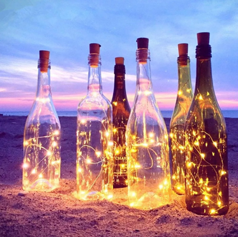Battery Powered Holiday Light Led Fairy Strip 2m 20led 3 Modes Sliver Wire Bottle String Fairy Light For Christmas Decor
