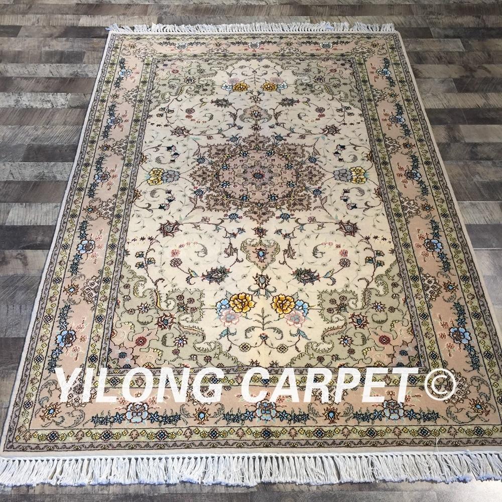 6 X9 Handmade Persian Wool Silk Area Rug Oriental Design: Yilong 4'x6' Persian Handmade Oriental Wool Silk Rugs