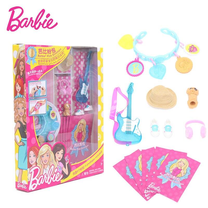 Original Barbie Accessories with 5 Pink bag shoes Violin Camera rabbit Doll Fashion Barbie Doll FGC40