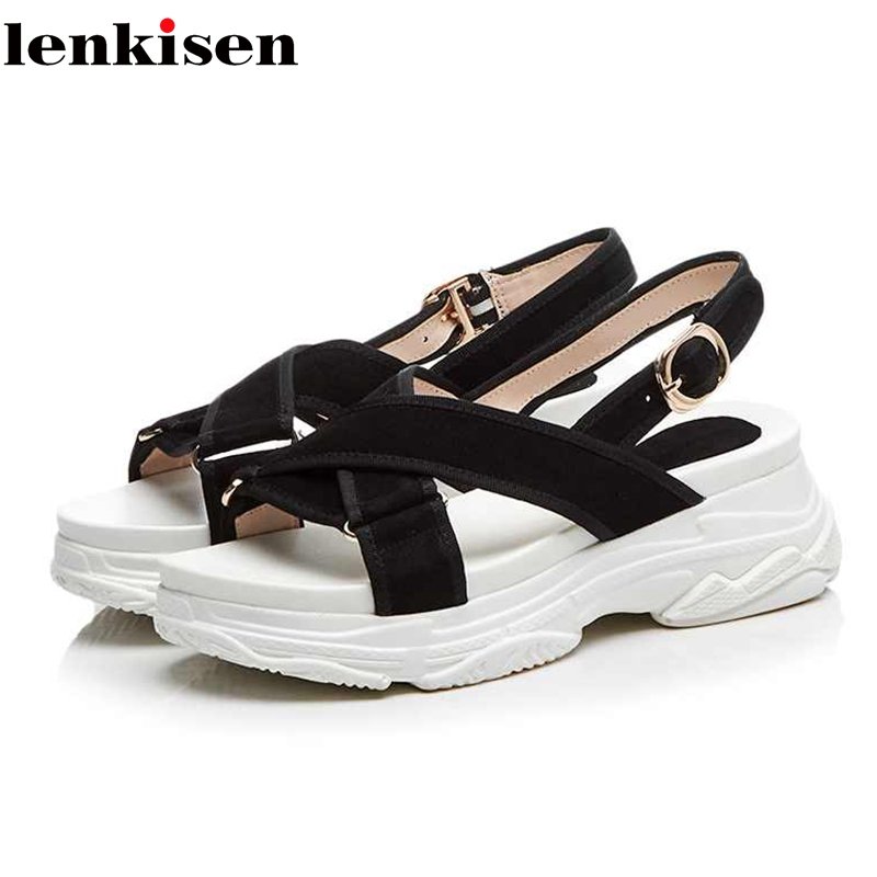 Lenkisen recommend peep toe kid suede buckle straps wedges bottom solid Korean designer streetwear women platform