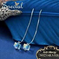 Special Brand Fashion 925 Sterling Silver Long Earrings Luxury Ear Pins Stud Earrings Crystal Jewelry Gifts