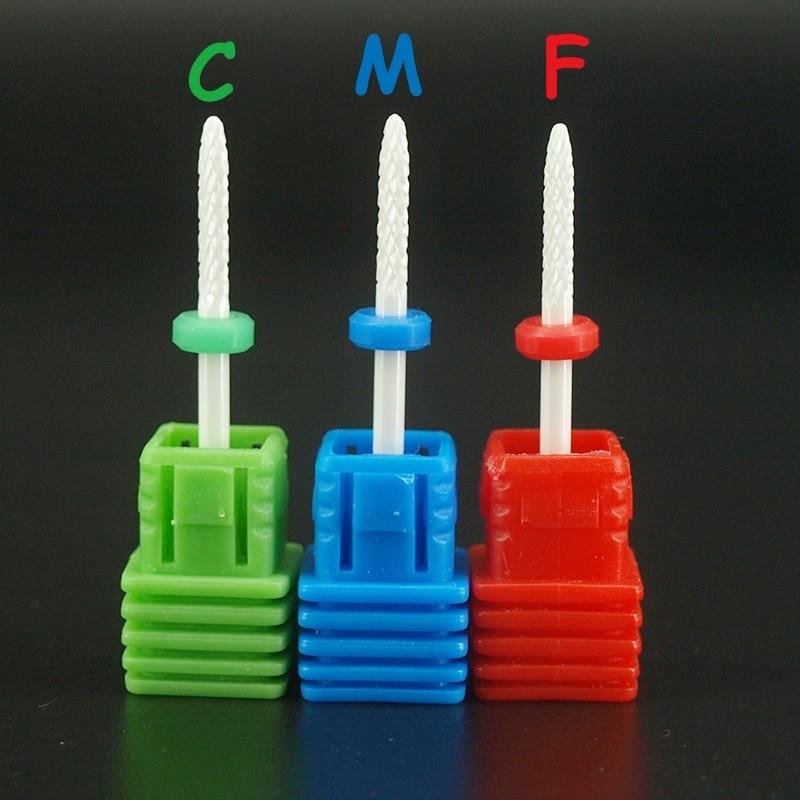 """1 ชิ้น 3/32 """"C, M, F บิตเล็บร้านเครื่องมือสว่านไฟฟ้าเซรามิกตะไบเล็บสว่านสำหรับเครื่องแต่งเล็บเล็บตัดหนังกำพร้า."""