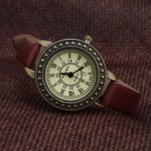 ספרות רומית שעונים בסדר ספרותי רטרו נשים גבירותיי וינטג צמיד שעון עור חיוג שעוני יד קוורץ Kol Saati ביאן