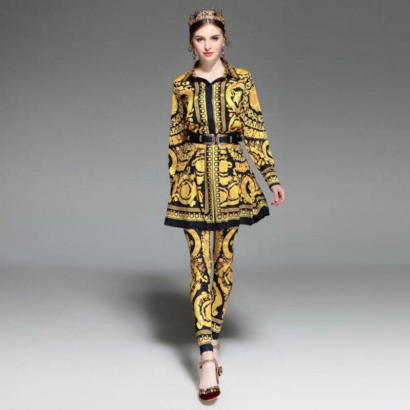 Floral Pantalon Mini Set 3 Plissée Printemps 3pcs Jc1885 Jupe Imprimées Femmes Ensemble 2017 Piste Mode Chemises Costume Été Ensembles Pièces Crayon Vintage wq4CxwZPT