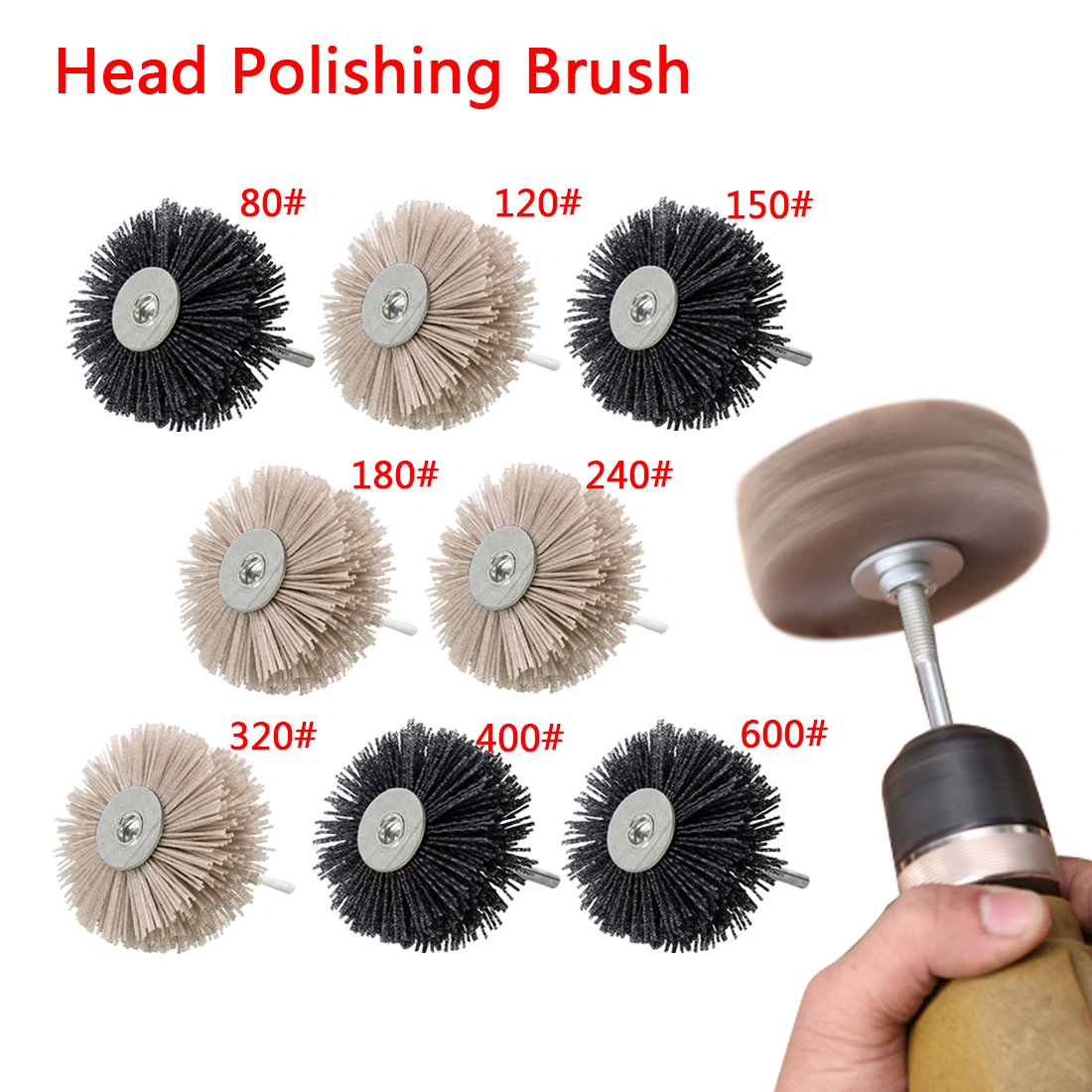 1pcs 80-600# Nylon Wheel Brush Abrasive Wire Grinding Flower Head  Polishing Brush Bench Grinder For Wood Furniture