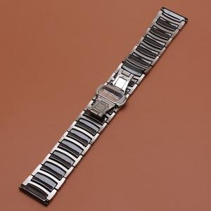 Image 5 - حار 20 مللي متر 22 مللي متر الفولاذ المقاوم للصدأ مع السيراميك الأسود الذكية حزام (استيك) ساعة حزام ل والعتاد S2 S3 ووتش الاكسسوارات الكلاسيكية الأسود تعزيز