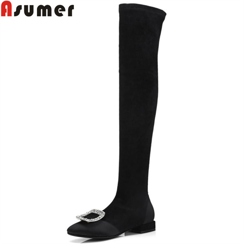 ASUMER black fashion over the knee boots women square toe rhinestone ladies boots low heel stretch fabric6+suede leather bootsASUMER black fashion over the knee boots women square toe rhinestone ladies boots low heel stretch fabric6+suede leather boots