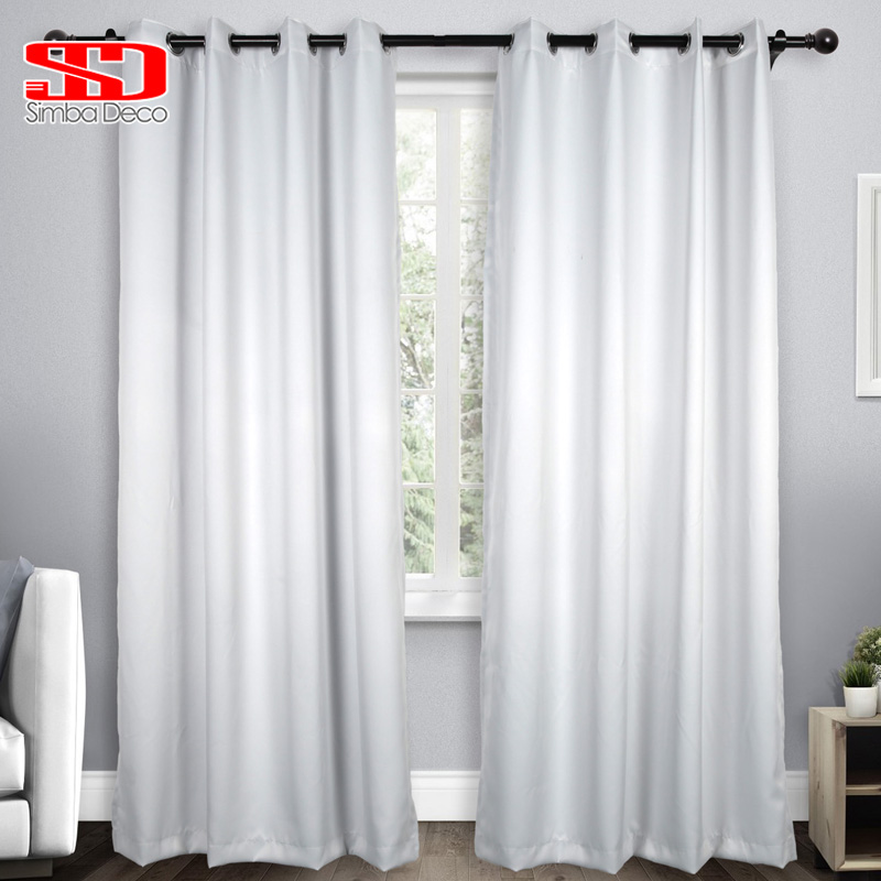 Solid Imitation Silk Blackout Curtains For Living Room Modern White Drapes For Bedroom Window Treatments High Shading Panel