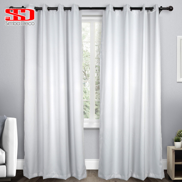 US $5.8 42% OFF|Solid Imitation Silk Blackout Curtains For Living Room  Modern White Drapes for Bedroom Window Treatments High Shading Panel-in ...