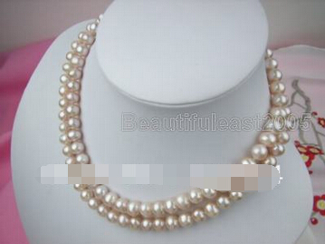 e8c9758d077ab8 beautiful 2 row natrual 9 10mm pink akoya pearl necklace jewelry ...
