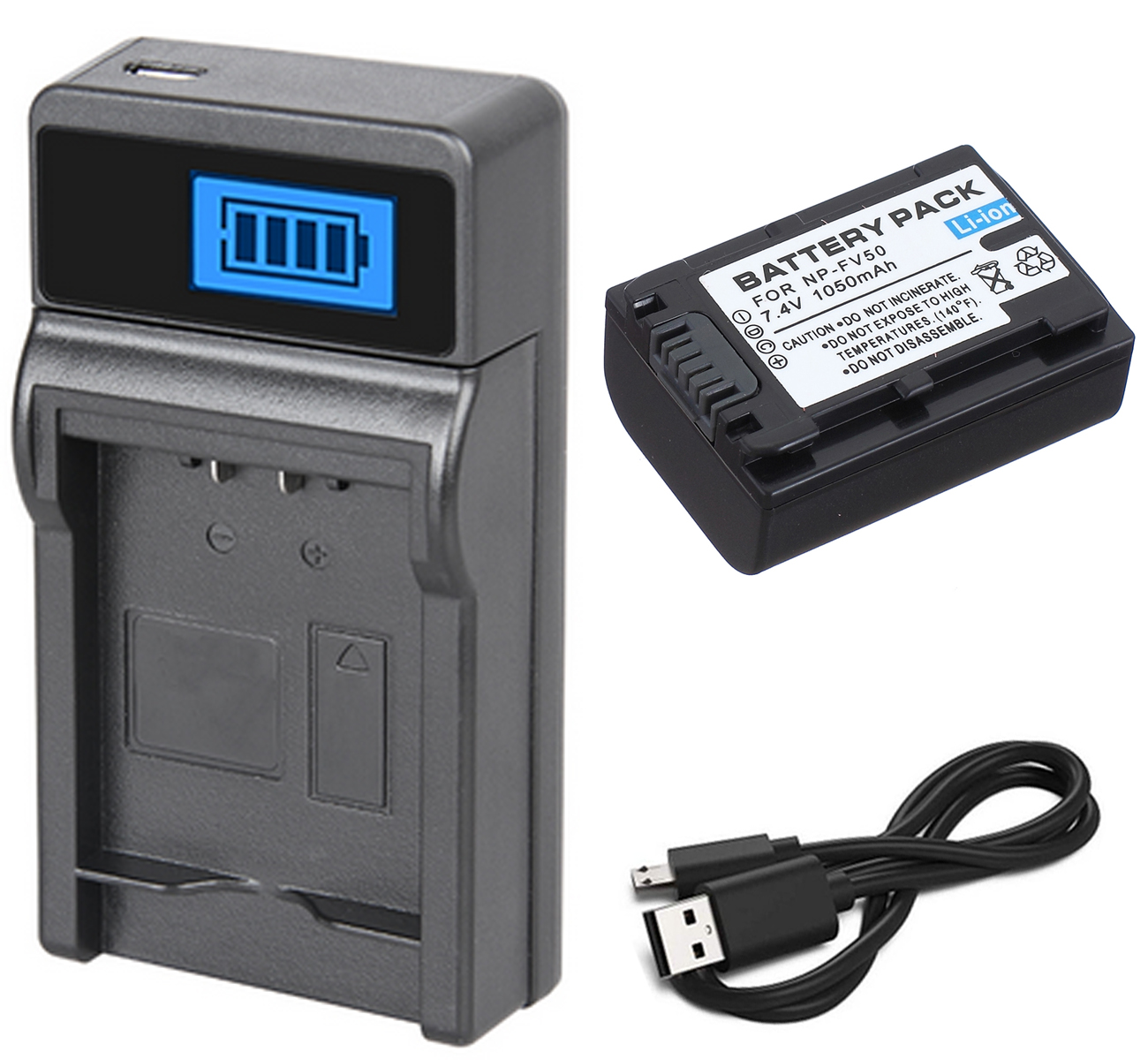 Battery Pack + Charger For Sony HDR-CX110E,HDR-CX130E,HDR-CX150E,HDR-CX160E,HDR-CX170E,HDR-CX180E,HDR-CX190E Handycam Camcorder