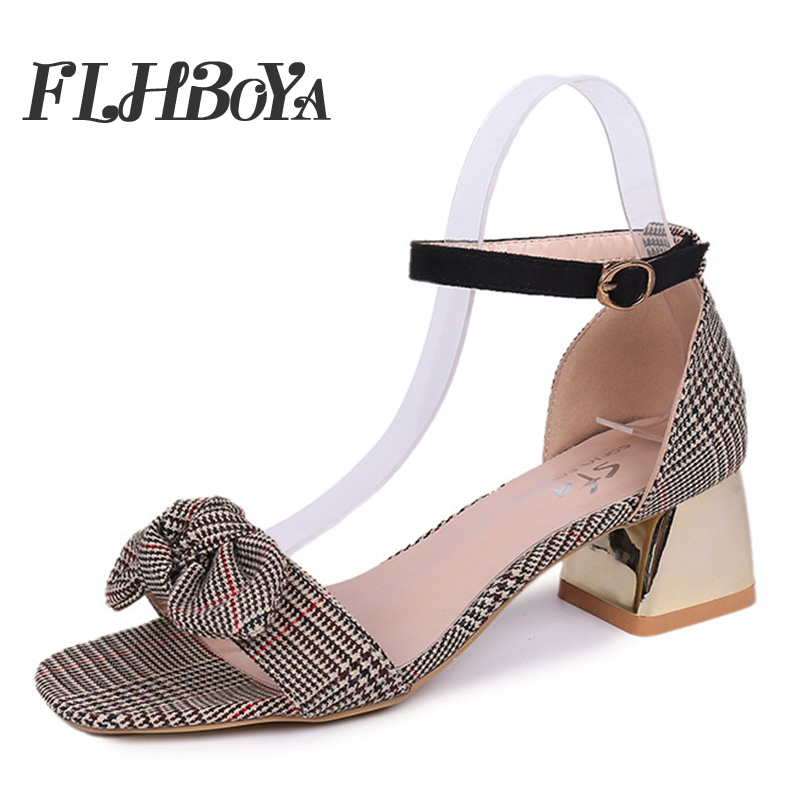 купить 2018 Summer Womens Buckle Strap Block Heels Sandals Lady Bowtie Black Glod Chunky Square Heel Party Gingham Femme Shoes Sandals по цене 1480.99 рублей