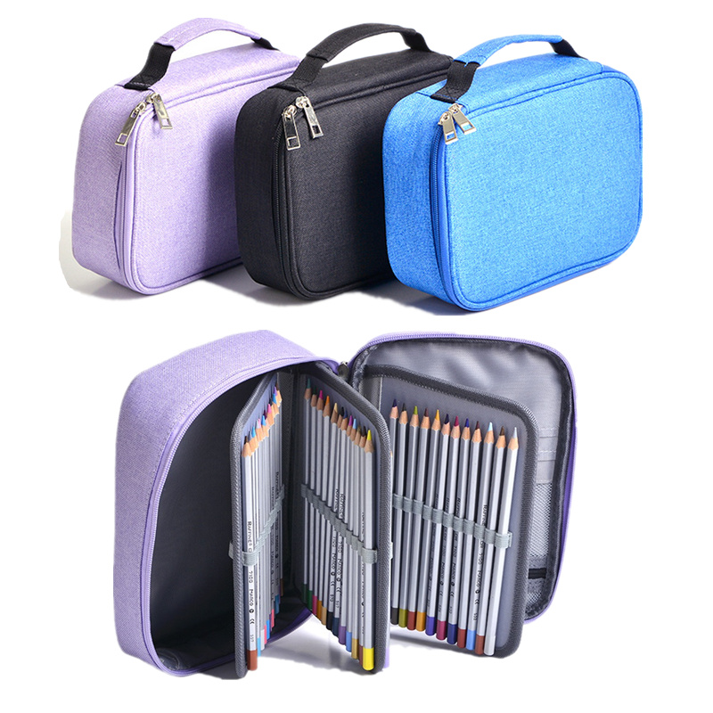 high capacity School pencil case 72 holes Multi-layer pen Supplies kawaii pouch bags for gift Canvas Zipper Penalty Art Students big pencil case box 32 52 72 slots zipper large capacity pen organizer for watercolor pens markers perfect gift for students