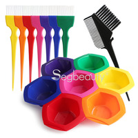 Hair Coloring Highlights Combs, Hairstyle DIY/Professional Tint Kit Rainbow Hair Color Mixing Bowls Brushes Comb for Dyed Hair