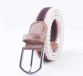 colorful canvas belt wild belt elastic leisure knitting Korean version of the trend of non - porous fashion elastic belt