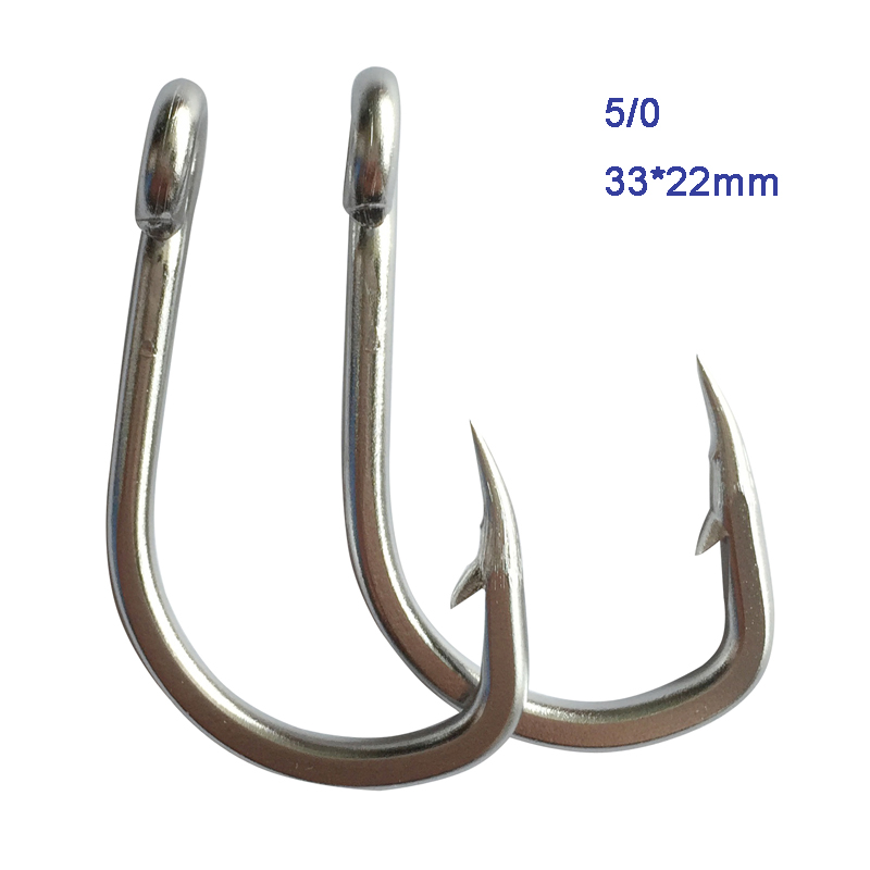 5 TUNA hooks stainless steel very strong fishing shark tuna grouper hallibut