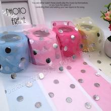 6cm 25Y Circle Glitter Tulle Ribbon Mesh Roll DIY Craft Bowknot Tutu Skirt Girl Baby Shower Birthday Party Wedding Supply