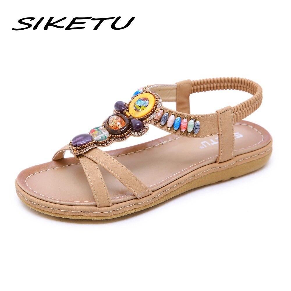 5f5a89a803 Praia 2019 Boho Verão Casual Retro 35 preto azul Étnica 42 Mulheres Corda  Bege Toe Sapatos Sandálias ...
