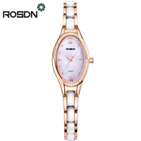 ROSDN Women Watches Top Fashion Brand Luxury Female Clock Ceramic Watchband Bracelet Wrist Watch Waterproof Diamond Quartz Watch