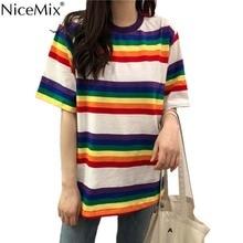 NiceMix Summer Kawaii Stripe T Shirt Women Harajuku T-shirts Loose Neon Tumblr Tshirt Casual Tops Tee Vetement Femme 2019
