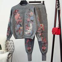 plus size 2XL! Women Sweater Top+Long Pants Knitted Tracksuit Sweat Suit Winter Casual Embroidery 2 Two Piece Set