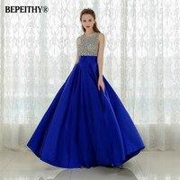 Vestido Longo Royal Blue Long Evening Dress 2016 Crystal Top Vintage Prom Dresses Robe De Soiree