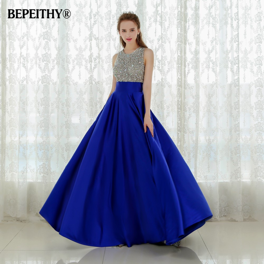Vestido Longo Royal Blue Long Evening Dress 2019 Crystal Top Vintage Prom Dresses Robe De Soiree Fast Shipping With Pocket