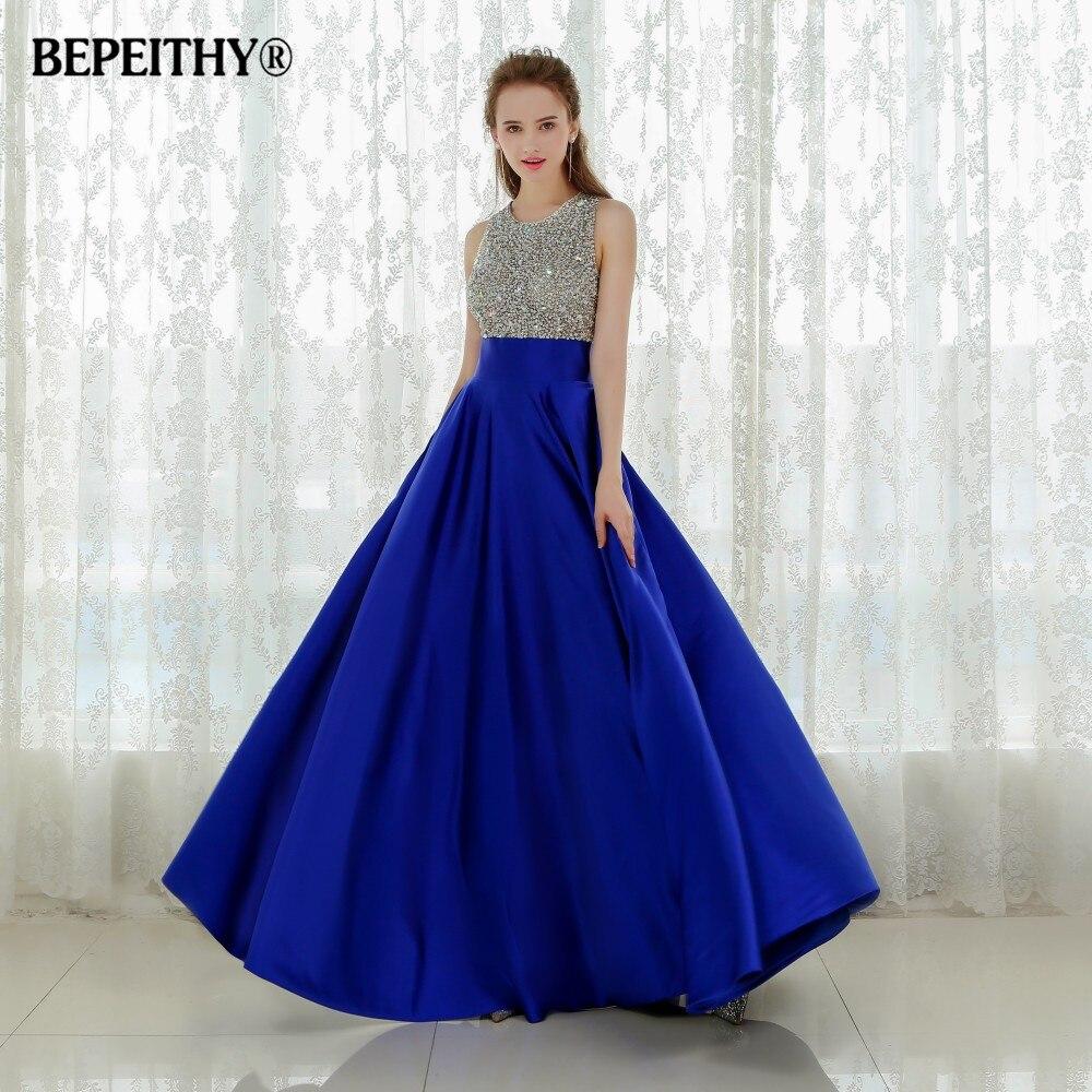 Vestido Longo Royal Blue Long Evening Dress 2019 Crystal Top Vintage Prom Dresses Robe De Soiree Fast Shipping With Pocket
