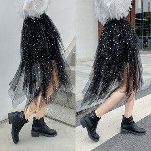 Image 1 - 夏の女性の膝丈プリーツスカートかわいい星のスパンコールシックなスカートスイング不規則なシャイニングビーズチュール女性ファッションスカート
