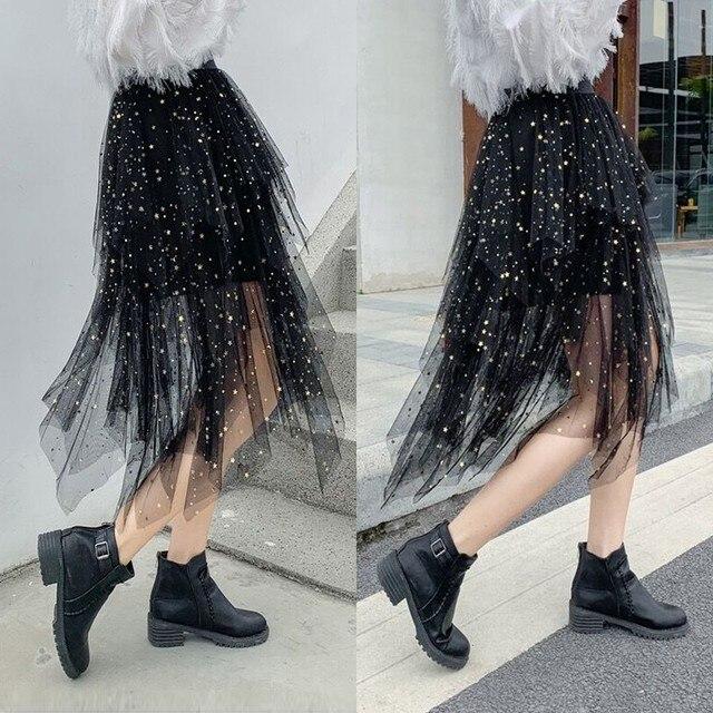 夏の女性の膝丈プリーツスカートかわいい星のスパンコールシックなスカートスイング不規則なシャイニングビーズチュール女性ファッションスカート