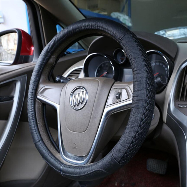 Winter Steering Wheel Cover Braid Genuine Leather 38cm Cheap Anti- slip Steering Wheel Cover Car Accessories LZH