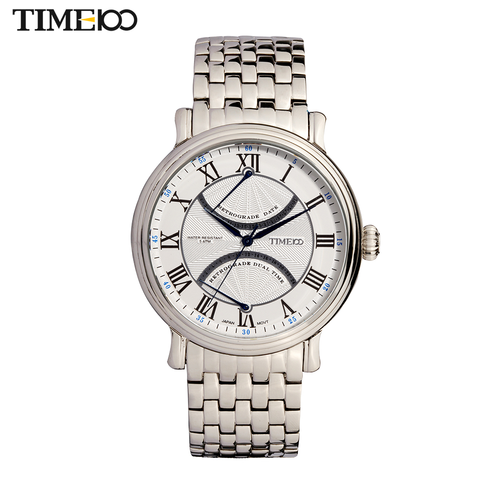 Fashion TIME100 Unique British Style Roman Numeral Stainless Steel Strap Calendar Classical Men Quartz Wrist Watches W80005G.02A time100 relojes marca w50131l 02a