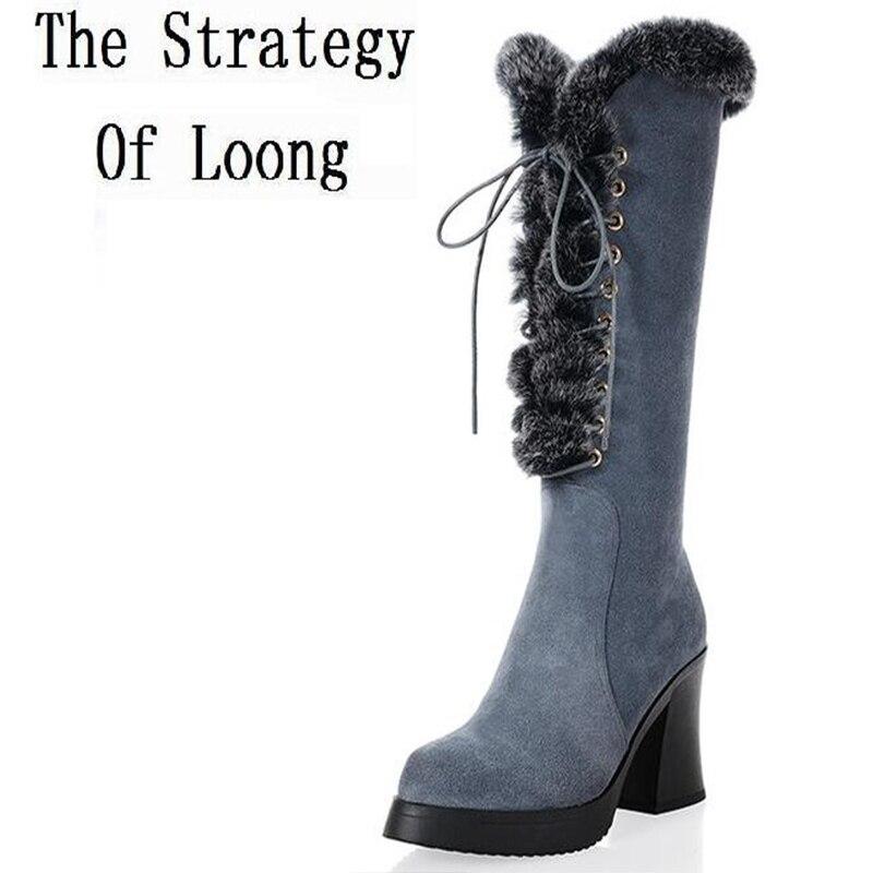 ④Женская зимняя обувь толстый высокий каблук зимние сапоги из ... 83effabf34c