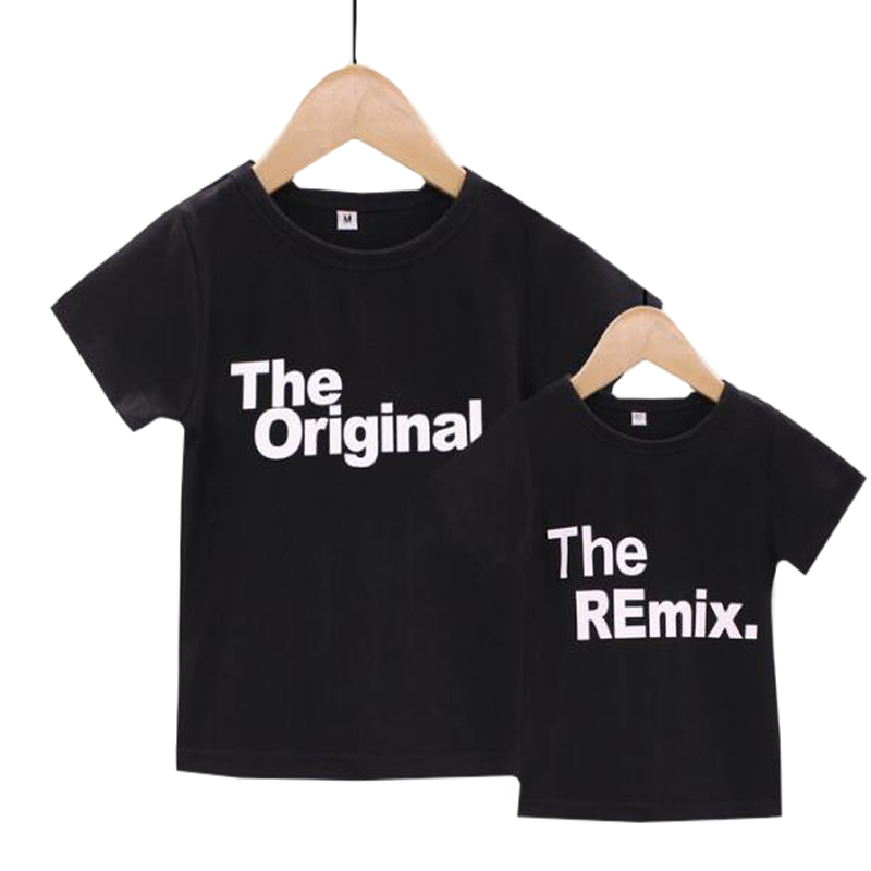 2019 New Family Look Fashion Family Matching Outfits Letter Printed The Original Remix Family T-shirts Father And Son Clothes