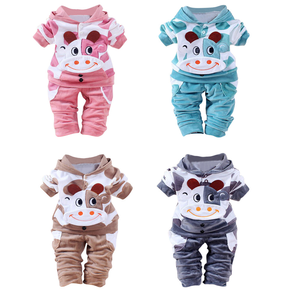 Baby Sets 2017 Newborn Baby Girls Boys Cartoon Cow Warm Outfits Clothes Velvet Hooded Tops Set Infant Clothing #50