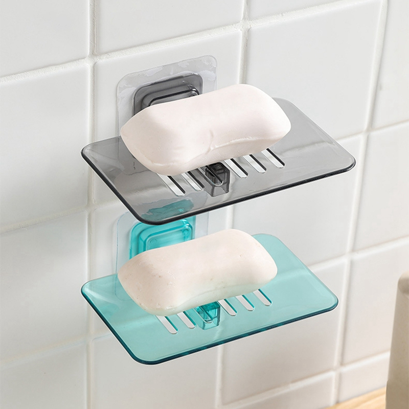4 Colors Soap Dishes Drain Sponge Holder Bathroom Organizer Wall Mounted Storage Rack Soap Box Kitchen Hanging Shelf FREE SHIP