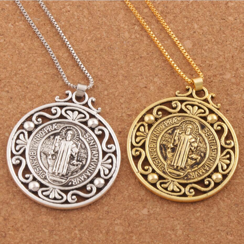12pcs Retro Saint St Benedict of Nursia Patron Against Evil Medal Pendant Necklaces N1787 24inches 2Colors