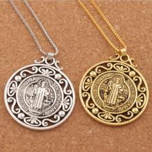 12pcs Retro Saint St Benedict of Nursia Patron Against Evil Medal Pendant Necklaces N1787 24inches 2Colors