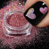 1 pièces holographique ongle poudre Laser paillettes décoration bricolage miroitant poussière Chrome Pigment brillant Nail Art Sequin Paillette JIL01-16