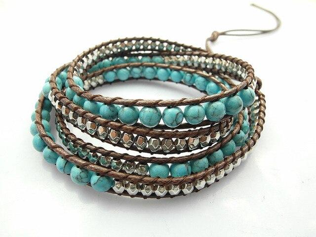 6mm Blue Howlite Bead Strand Bracelet New Design Handmade Strand Bracelet Wholesale Sale 2