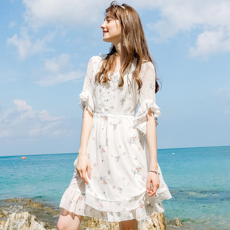 Wasteheart Summer White Women Dress Chiffon V Neck Holiday Sexy Plus Size Club Embroidery Dresses Beach Sundress Long Dress in Dresses from Women 39 s Clothing