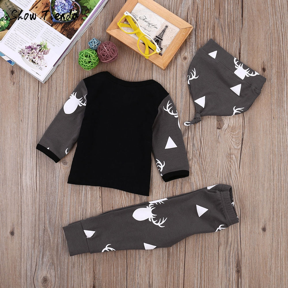 2017 hot sale Christmas suit Newborn Baby Girl Boy Clothes Deer Top long sleeve T-shirt+Pant Leggings hat 3pz Outfit Set costume