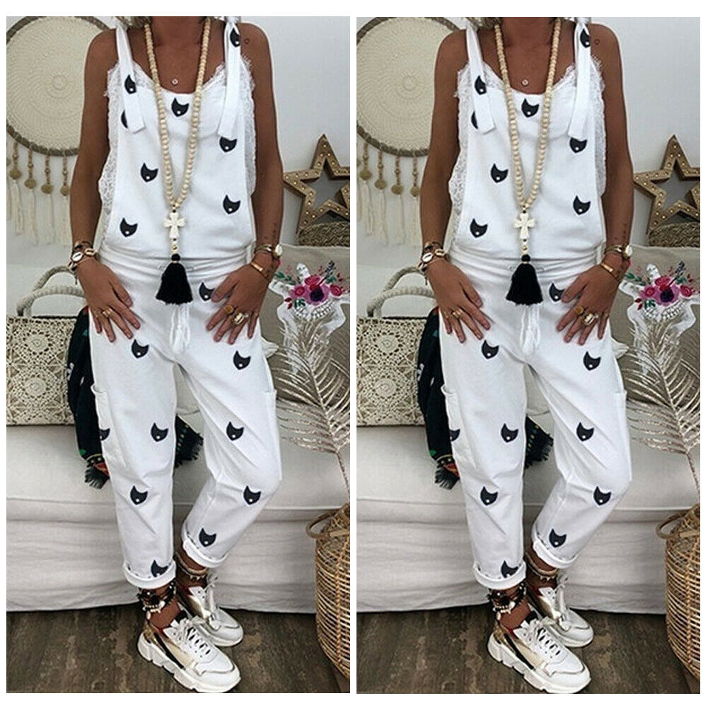 2019 Fashion Women's Casual Loose Jumpsuit Dungarees Playsuit Strappy Baggy   Romper   Loose Long Pant Trousers Overalls