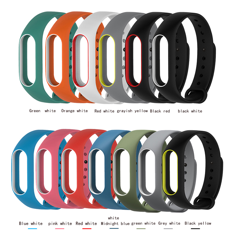 Silicone Wrist Strap Bracelet Double Color Replacement watchband for Original Miband 2 Xiaomi Mi band 2 Wristbands original xiaomi steel net watch band for miband