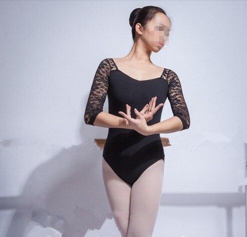 Costume élégant adulte ballet danse vêtements demi manches dentelle justaucorps combinaison justaucorps danse Camisole - 3