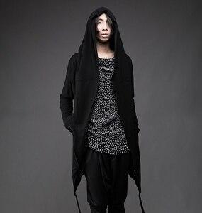 Image 3 - Men thin tính cách nghiêng dây kéo chiếc áo choàng trùm đầu hộp đêm đi đường hoodies mens gothic phong cách áo hip hop sweatshirt dài coat