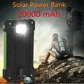 Nueva prueba de agua solar Portátil banco de la energía 20000 mAh Cargador de viaje solar Universl Teléfono Batería Externa Powerbank 20000 mah de Copia de seguridad