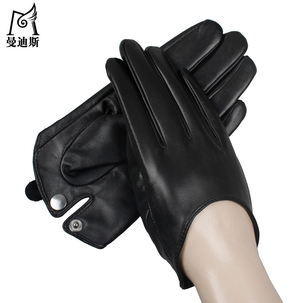 Black leather gloves with red buttons - Russian Women Touch The Screen Short Fashion Hands On First Layer Of Sheepskin Simple Lady Leather Gloves Classic Buttons