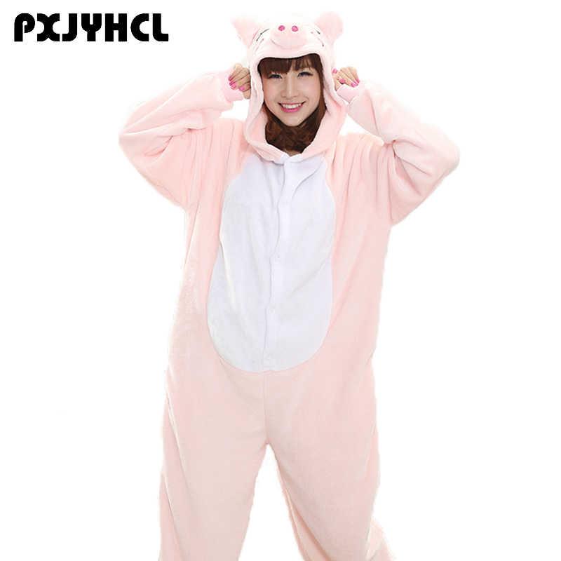Для взрослых Аниме Kigurumi комбинезоны свинья костюм для женщин животного  Пикачу Покемон единорог пижамы девочек домашняя be53ddce2057b